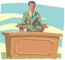 yoga teacher on desk